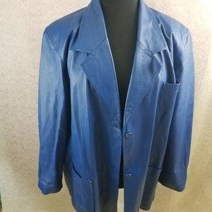 Via Accenti Sleek Blue 100% Leather Jacket: 3x